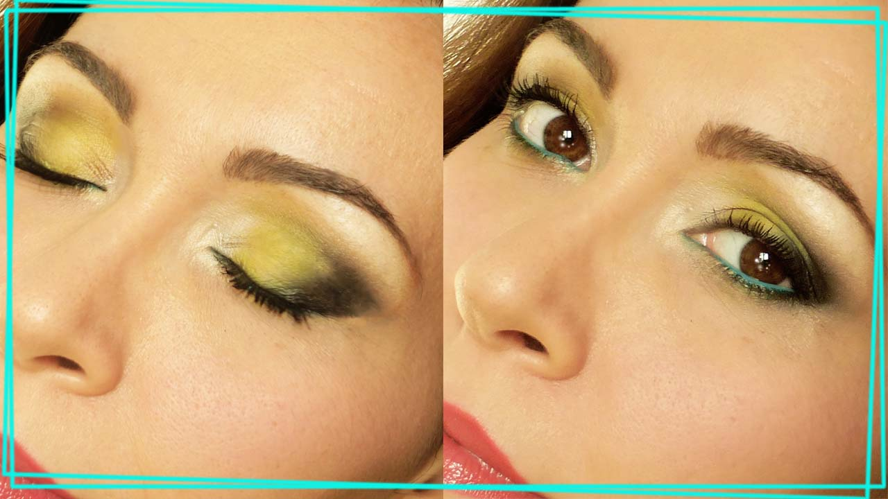 make up occhi scuri giallo nero turchese abbinare i colori sfumaturemakeup & beauty